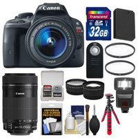 Canon EOS Rebel SL1 Digital SLR Camera & EF-S 18-55mm IS with 55-250mm IS STM Lens + 32GB Card + Flash + Battery + Tripod + Tele/Wide Lens Kit