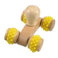Yellow Rubber Coated Wooden Wheels Car Shaped Body Massage Roller