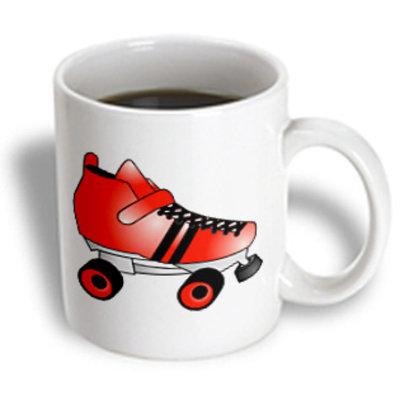 Recaro North 3dRose - Janna Salak Designs Roller Derby - Skating Gifts - Red and Black Roller Skate - 11 oz mug