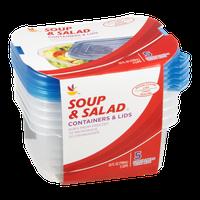 Ahold Contrainers & Lids Soup & Salad 3 Cups - 5 CT