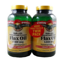 Spring Valley Flax Oil Softgels 1200 mg, 400 count, Twin Pack (2 Bottles of 200 Each)