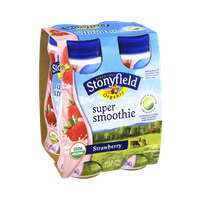 Stonyfield Organic Super Smoothie Strawberry Lowfat Yogurt - 4 PK