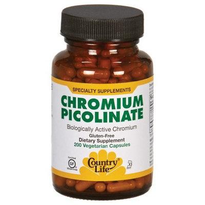 Country Life Chromium Picolinate, 200 mcg, 200-Count