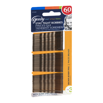 Goody Start Style Finish Stay Tight Bobbies Bobby Pins Brown - 60 CT