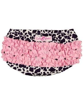 RuffleButts Girls Infant Girls Cow Print Cotton Ruffled Diaper Cover