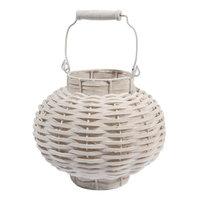 Kaemingk 11.5 Beach Day Weathered White Woven Wood Votive Candle Lantern