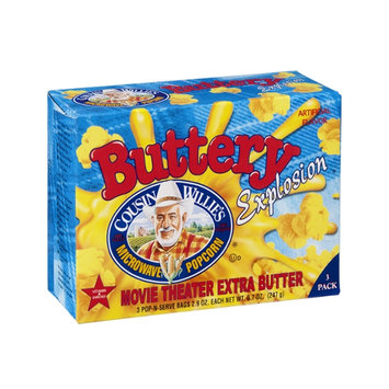 Cousin Willie's Buttery Explosion Microwave Popcorn Movie Theater Extra Butter - 3 PK