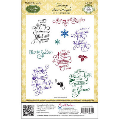 Sierra Accessories JustRite Stampers Cling Stamp Set - Christmas Inner Thoughts 11pc