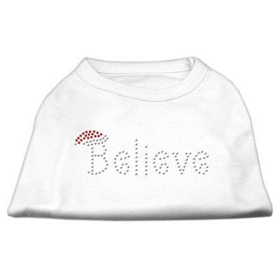 Mirage Pet Products 522502 SMWT Believe Rhinestone Shirts White S 10