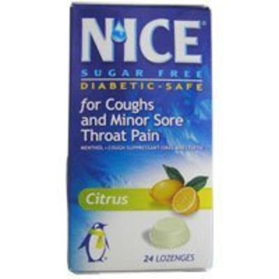 N'ICE Nice Sugar Free Lozenges for Coughs and Minor Sore Throat Pain, Citrus - 24 Lozenges