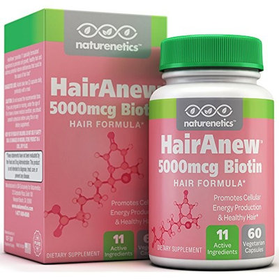 Naturenetics HairAnew (Unique Hair Growth Vitamins with Biotin) - Tested - For Hair, Skin & Nails - Women & Men - Addresses Vitamin Deficiencies That Could Be The Cause of Hair Loss / Lack of Regrowth * 60 VCaps