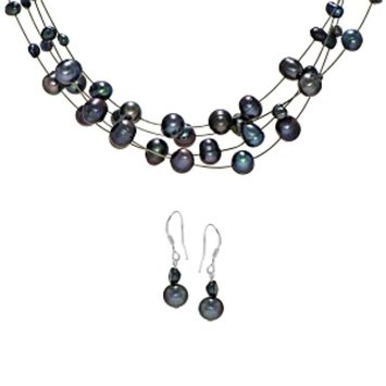 Emitations Bridal Jewelry Set: Cormia's Freshwater Pearl Necklace & Earring Set