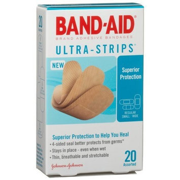Band-Aid Brand Adhesive Bandages, Ultra-Strips, 20-Count Assorted Sizes (Pack of 6)