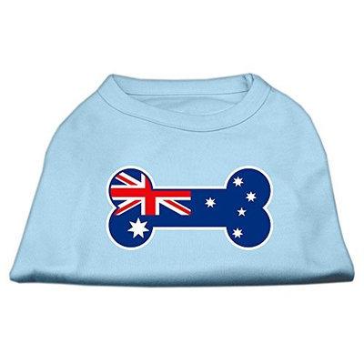 Mirage Pet Products 5109 SMBBL Bone Shaped Australian Flag Screen Print Shirts Baby Blue S 10