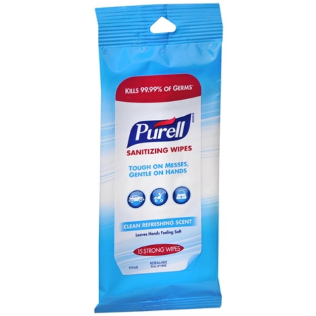 Purell Sanitizing Wipes, Clean Refreshing, 15 ea
