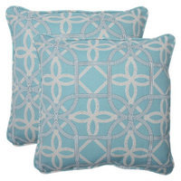 Pillow Perfect Outdoor 2-Piece Square Throw Pillow Set - Blue/Brown Keene