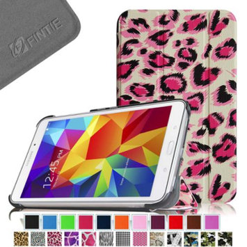 Fintie Smart Shell Case Ultra Slim Lightweight Stand Cover for Samsung Galaxy Tab 4 7.0 Tablet, Leopard Pink
