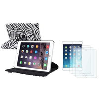 Insten INSTEN For iPad Air 2 2nd Gen White/Black Zebra Ultra Slim Leather 360 Degree Rotating Cover Case Stand + 3x Protector