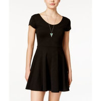 Planet Gold Juniors' Cap-Sleeve Textured Fit & Flare Dress
