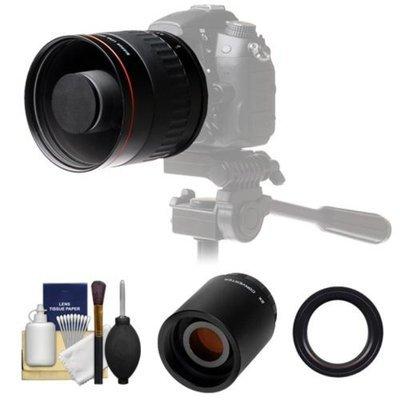 Vivitar 500mm f/6.3 Mirror Lens with 2x Teleconverter (=1000mm) + Accessory Kit for Nikon D3200, D3300, D5200, D5300, D7000, D7100, D610, D800, D810, D4s DSLR Cameras