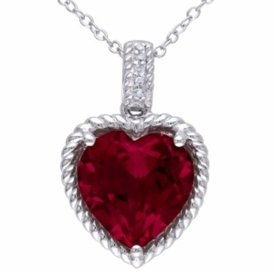 Amour Silver Diamond & Created Ruby Pendant, Red, 1 ea