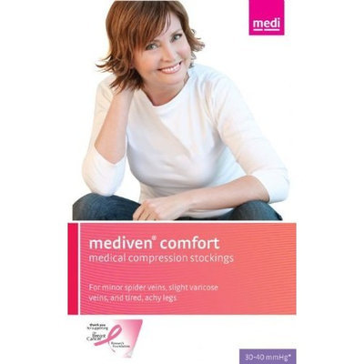 Medi comfort CompressionThigh High w/sil band 30-40mmHg Closed Toe, IV, Natural