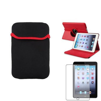 Insten iPad Mini 3/2/1 Case, by INSTEN Red 360 Leather Case Cover+Matte Protector/Sleeve for iPad Mini 3 2 1