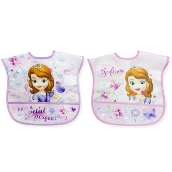 Disney Sofia The First Infant Girl's 2 Pack Wipe Clean Bibs - Rose Art
