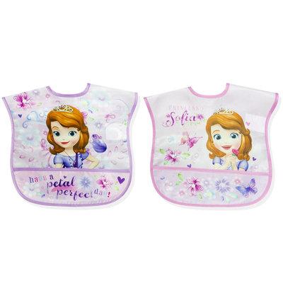 Disney Sofia The First Infant Girl's 2 Pack Wipe Clean Bibs - Rose Art