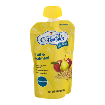 Cottontails 2nd Stage Squeezable Baby Food Fruit & Oatmeal
