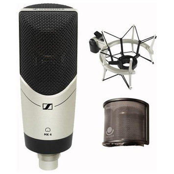 Sennheiser MK4 Condenser Microphone with Shockmount and PopGard Bundle