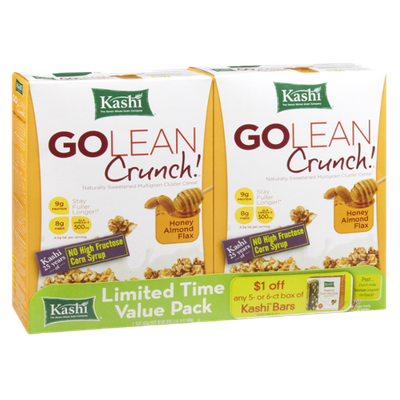 Kashi Go Lean Crunch Honey Almond Flax Multigrain Cluster Cereal - 2 PK