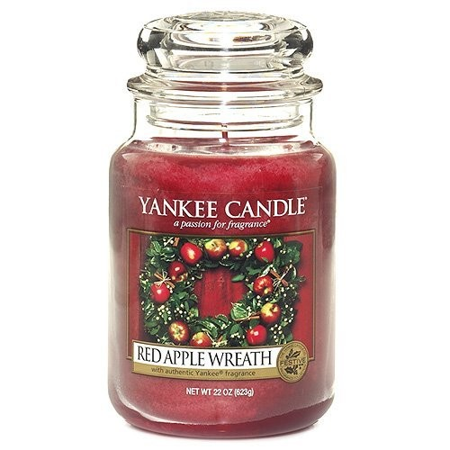 Yankee Candle Red Apple Wreath Jar Candle, 22-Ounce, Large