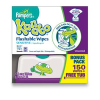 Pampers Kandoo Flushable Sensitive Wipes Tub, 150 Count
