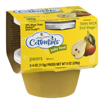 Cottontails 2nd Stage Baby Food Packs Pears