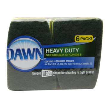 Dawn Heavy Duty Scrubber Sponges, Green/Yellow, 6 ea