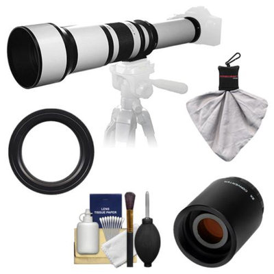 Samyang 650-1300mm f/8-16 Telephoto Lens (White) with 2x Teleconverter (=650-2600mm) for Canon EOS 60D, 7D, 5D Mark II III, Rebel T3, T3i, T4i Digital SLR Cameras