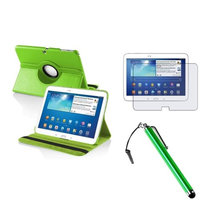 Insten INSTEN Green Rotating Leather Case+AG Protector/Stylus For Samsung Galaxy Tab 3 10.1 Tablet