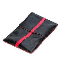Luardi Genuine Italian Leather Pouch for MacBook, Black/Red