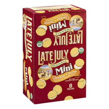 Late July Organic Mini Sandwich Cracker Packs Cheddar Cheese - 8 CT