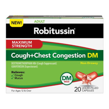 Robitussin DM Cough+Chest Congestion Liquid-Filled Capsules, Non-Drowsy, 20 ea