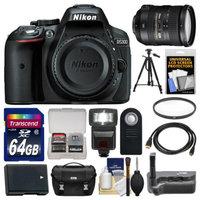 Nikon D5300 Digital SLR Camera Body (Black) with 18-200mm VR II Lens + 64GB Card + Case + Flash + Battery + Tripod Kit