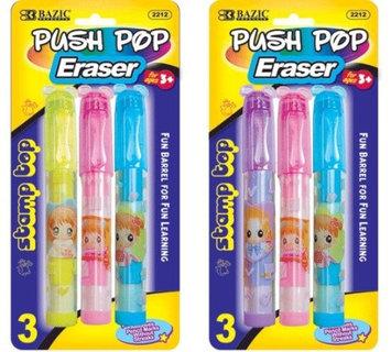 BAZIC Fancy Push-Pop Pencil Eraser w/ Stamp Top