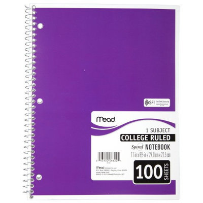 Mead 06622 Spiral Bound Notebook- College Rule- 8-1/2 x 11- White- 100 Sheets/Pad