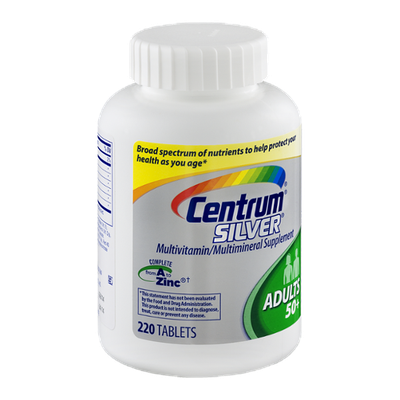 Centrum Sliver Multivitamin/Multimineral For Adults over 50 Supplement Tablets - 220 CT