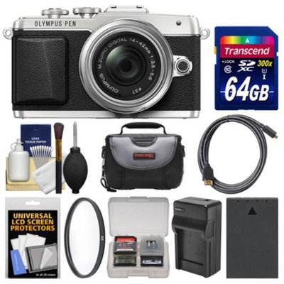 Olympus PEN E-PL7 Micro 4/3 Digital Camera & 14-42mm II R Lens (Silver) with 64GB Card + Case + Battery & Charger + Filter + Kit