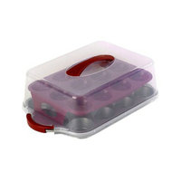 Bialetti Cupcake Carrier - Silvertone/Red (24-cup)