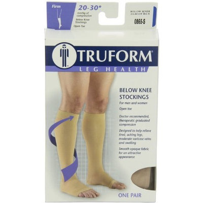 Truform 0865, Compression Stockings, Below Knee, Open Toe, 20-30 mmHg, Beige, Small