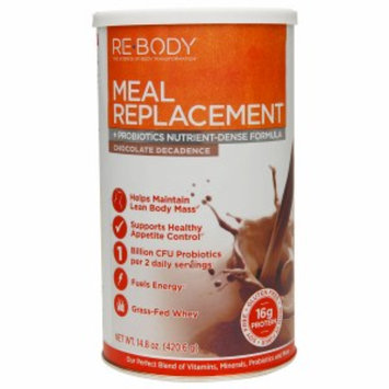 Re-Body Meal Replacement + Probiotics Nutrient-Defense Formula, Chocolate Decadence, 14.8 oz
