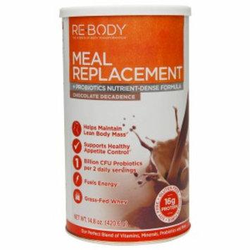 Re-Body Meal Replacement + Probiotics Nutrient-Defense Formula, Chocolate Decadence, 14.8 oz